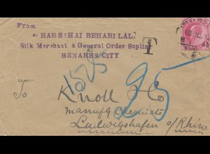 India 1903: Benares City, Silk Merchant to Ludwigshafen, Taxe