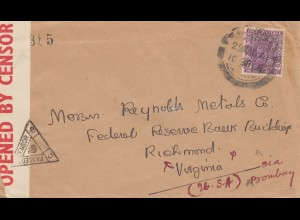 India 1941: letter to Richmond Virginia, censor