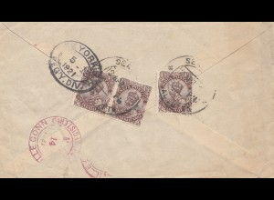 India 1921: Registered Sealdah to Plantsville/USA