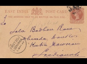 India 1889, post card, stamp dealer, First Del. Ludhiana