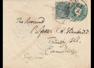 India 1899: Sea post to Cambridge