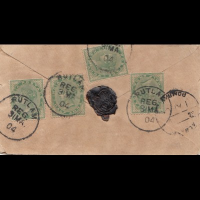 India 1904: Registered Rutlam to Ramkaran