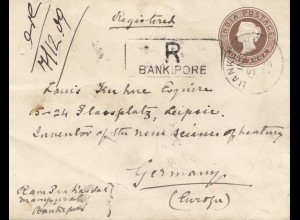 India 1909: Registered Bankipore to Leipzig
