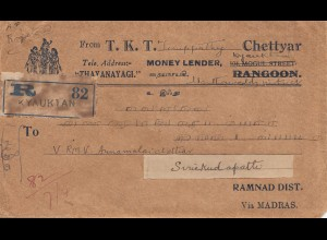 India 1939: Registered Kyauktan to Ramnad Dist.
