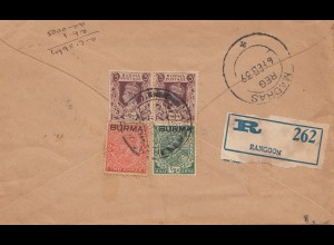 India 1939: Registered Rangoon to Madras