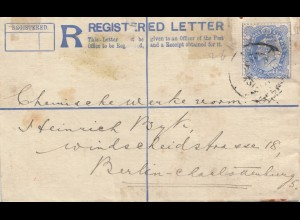 India 1912: Registered letter to Berlin, Perfin