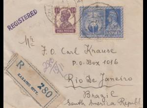 India: 1940: Registered Karachi to Rio de Janeiro/Brazil