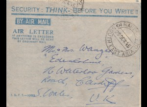 India: 1945: air mail RDF to Cardiff