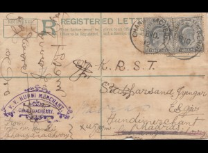 India: 1912: Registered letter changanacherry