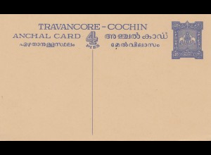 India: post card Travancore Cochin, Anchal card - 4 Pies