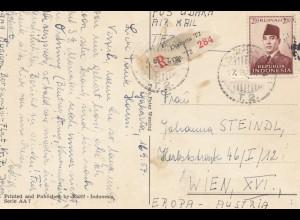 Indonesia: 1957 post card registered Djakarta to Wien