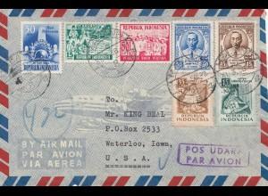 Indonesia: 1950: air mail Malang Djawa to Waterloo/Iowa
