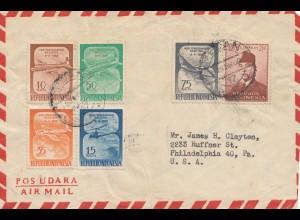 Indonesia: 1958: air mail Medan/Sumatra to Philadelphia