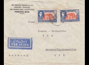 air mail Teheran to Dresden