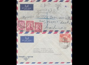 Iraq: 2x letter 1955 air mail Baghdad to Hanau/London