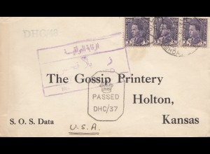 Iraq: 1942: letter to Holton, Kansas, Censor