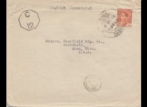 Iraq: 1946 Basrah to Westfield, Mass, USA, censor