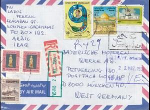 Iraq: 1984: Arbic Registered to BMW München, R-Zettel aus dem Ausland