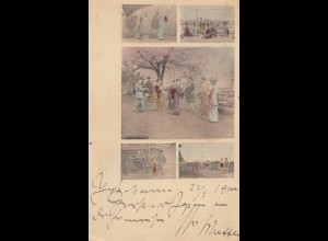 Japan 1900 post card Yokohama to Salzungen