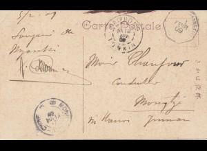 Japan 1909: post card Haiphon to Mongtze via Hanoi