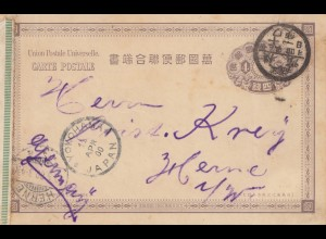 Japan 1900: Yokohama post card to Herme/Germany