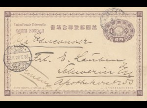 Japan 1900: post card to Schwerin