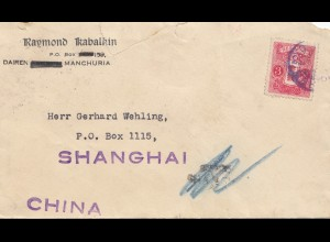 Japan cover Dairen/Manchuria to Shanghai - China, Tax