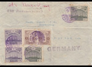 Japan post card 1921: letter to Germany via America