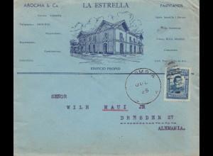 Colombia 1925: La Estrella - letter to Dresden