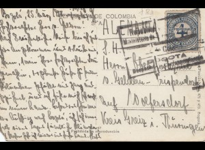 Colombia 1928: post card Bogota, Costado Oriental, to Wolfersdorf/Thüringen