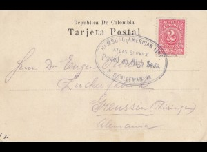 Colombia post card Barranquilla via Hamburg-American Linie, High Sea Posted
