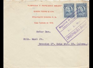 Colombia 1930, letter Chiquinquira to Dresden