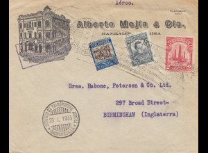 Colombia 1935: Barranquilla - Air mail - to Birmingham