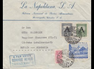 Colombia 1951: Barranquilla - Air mail - to Berlin