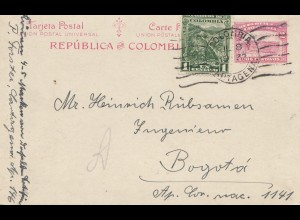 Colombia 1932: post card Cartagena to Bogota