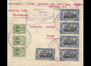 Colombia 1931: Cali. Rep to Clemencia/Tulua