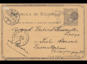 Colombia 1897: post card Buenarentna via Ligne D to Kiel/Germany