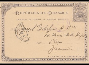 Colombia 1903: post card to Paris
