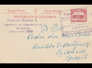 Colombia 1929: post card Bogota to Bahia/Brazil