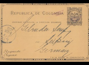 Colombia 1904: Colon to Leipzig, post card