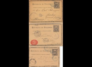 Colombia 1894 - 3x post card to Germany/Peru