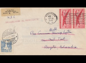 Colombia 1946: letter Bogota to Syracuse, back to sender
