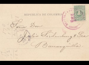 Colombia 1904: post card Cartagena to Barranquilla