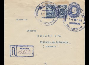 Colombia 1931: Registered Bogota to Freiburg/Germany