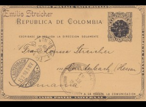 Colombia 1898: Bogota to Lautenbach, post card