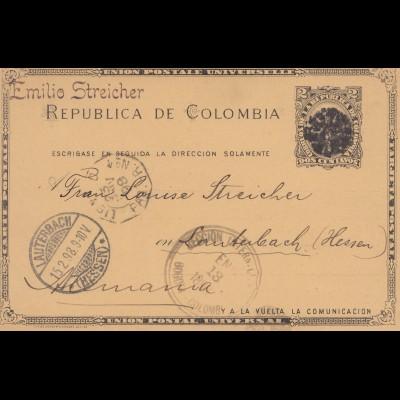 Colombia 1898: Bogota to Lautenbach, post card