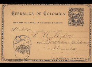 Colombia 1898: post card Abril to Pforzheim