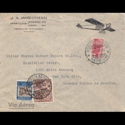 Colombia 1940: Medellin to New York - air mail