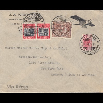 Colombia 1940: air mail Medellin to New York