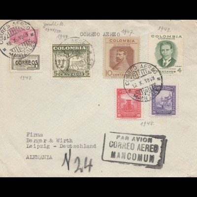 Colombia 1949: air mail Manizales to Leipzig